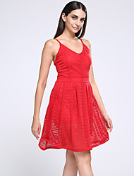 Women's Work Dress Knee-length Sleeveless Red Others Summer