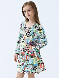 Girl's Cotton Spring/Autumn Cute Abstract Print Long Sleeve Princess Dress