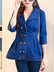 Women's Casual/Daily Simple / Street chic Denim Jackets,Solid Shirt Collar ¾ Sleeve Blue Cotton Medium