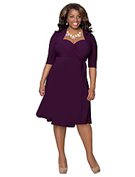 Women's Sexy Deep V-neck Vintage Elegant Plus Size Short Evening Cocktail Party Dress