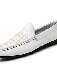 Herren-Loafers & Slip-Ons-Büro / Lässig-Kunststoff-Flacher Absatz-Mokassin-Schwarz / Weiß