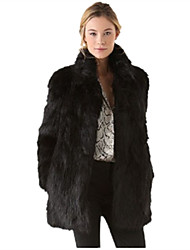 Women's Plus Size / Casual/Daily / Party/Cocktail Simple Fur Coat,Solid Round Neck Long Sleeve Fall /