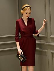 Women's Formal / Party/ Vintage / Sophisticated Sheath Dress,Solid V Neck Knee-length ¾ Sleeve