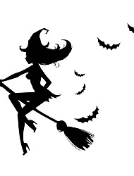 Wall Stickers Wall Decals Style Halloween Witches Broom PVC Wall Stickers
