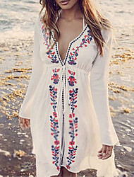 Women's Halter Cover-Up,Plunging Neckline / Floral Cotton White