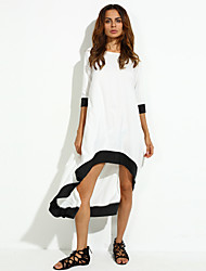 Women's Casual/Daily Loose Dress,Patchwork Round Neck Midi ¾ Sleeve White Acrylic Fall