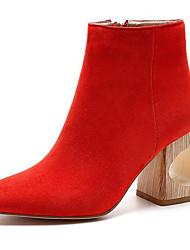 Damen-Stiefel-Outddor-Wildleder-BlockabsatzSchwarz Rot