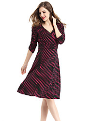 Women's Plus Size / Casual/Daily Street chic A Line Dress,Polka Dot V Neck Knee-length ¾ Sleeve