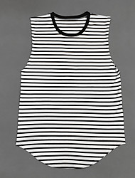 Men's Striped Casual Tank Tops,Cotton Sleeveless-Black