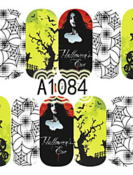 1pcs Nail Art Halloween Sticker Lady Black Tree Spiderwep DIY Nail Art Decoration A1084