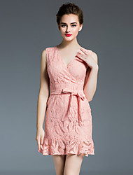 DREAMY LAND  Women's Going out Sexy Dress,Solid V Neck Above Knee Sleeveless Pink Others Summer