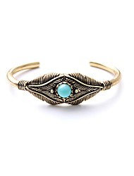 Bohemian Rhinestone Cuff Bracelets Golden Leaf Bracelet Fashionable Geometric Alloy Jewellery
