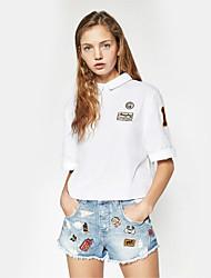 Damen Stickerei Einfach Lässig/Alltäglich T-shirt,Hemdkragen Sommer Kurzarm Weiß Baumwolle Dünn