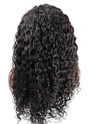 evawigs profunda onda de 10-28 polegadas frente perucas 100% laço do cabelo humano perucas cor natural densidade de preto 130%