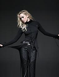 Punk Rave-T-187 Frauen-Weinlese / sexy Mikro-elastisch lange Hülse herkömmlichen T-Shirt (Baumwolle)