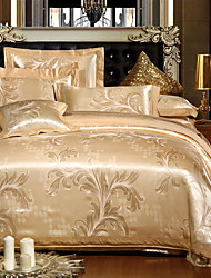 Floral 4 Piece Silk Embroidery Silk 4pcs (1 Duvet Cover, 1 Flat Sheet, 2 Shams)