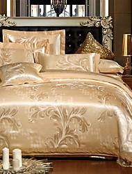 Blumen Bettbezug-Sets 4 Stück Seide Luxuriös Stickerei Seide Doppelbett / ca. 1,50 m breites Doppelbett4-teilig (1 Bettbezug, 1