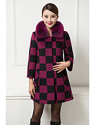 Women's Casual/Daily Simple Coat,Plaid Stand Long Sleeve Winter Red / Gray / Yellow Polyester Thick
