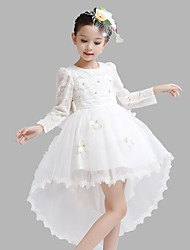 Ball Gown Asymmetrical Flower Girl Dress - Satin / Tulle Long Sleeve Jewel with Crystal Detailing / Flower(s)