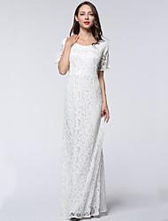 Women's Plus Size / Beach Boho Trumpet/Mermaid Dress,Solid Round Neck Maxi Short Sleeve White / Black Polyester Fall