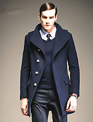 Men's Solid Casual / Work Coat,Wool / Acrylic / Polyester / Others Long Sleeve-Black / Blue / Red / Yellow