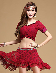 Belly Dance Outfits Women's Performance Lace 2 Pieces Black / Fuchsia / Burgundy / Dark Blue Top / Skirt No Stockings
