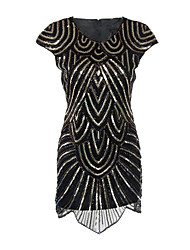 Women's Party Vintage 1920s Bodycon / Sheath Dress,Paisley Round Neck Knee-length Short Sleeve Black Polyester