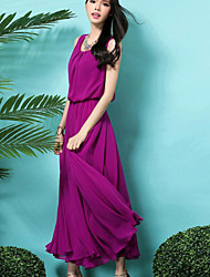 Women's Formal Simple Swing Dress,Solid Round Neck Maxi Sleeveless Purple Polyester Summer