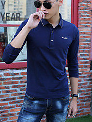Men's Long Sleeve PoloPolyester Casual Print