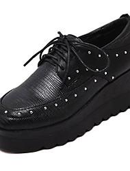 Homme-Extérieure-Noir-Plateforme-Compensées-Sneakers-Similicuir