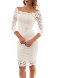 Spring Fall Go out Casual Women's Dresses Slim thin Solid Lace Sexy Boat Neck  Long Sleeve Dress