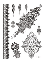 1pc Flower Black Henna Temporary Tattoo for Sexy Women Body Art Tattoo Sticker BM-LS1014
