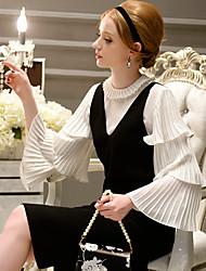 DABUWAWA Women's Going out / Casual/ Cute / Sophisticated Shirt,Solid Round Neck Long Ruffles Sleeve