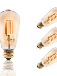 3.5 E26/E27 Lâmpadas de Filamento de LED ST19 4 COB 300 lm Âmbar Regulável / Decorativa AC 110-130 V 4 pçs