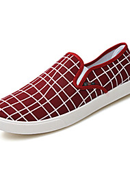 Men's Loafers & Slip-Ons Spring Fall Canvas Fabric Casual Flat Heel Black Blue Red Walking