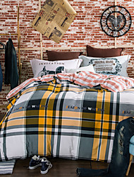 Plaid 800TC bedding sets Queen King size Bedlinen printing sheets pillowcases Duvet cover sanding Cotton Fabric
