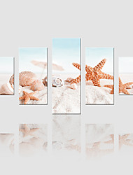 JAMMORY Canvas Set Landscape Modern,Five Panels Gallery Wrapped, Ready To Hang Vertical Print No Frame Starfish Beach