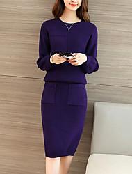 Damen Standard Pullover-Ausgehen Street Schick Solide Grau / Grün / Lila Rundhalsausschnitt Langarm Polyester Herbst Mittel