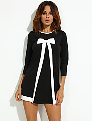 Women's Party/Cocktail Vintage Dress,Solid Round Neck Above Knee Long Sleeve Black Polyester Fall