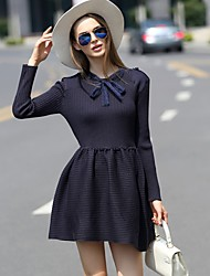 ILOVEKNITTING  Women's Going out Vintage Sweater Dress,Solid Round Neck Above Knee Long Sleeve Blue Others Fall