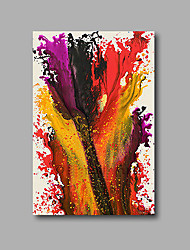 "Stretched (Ready to hang) Hand-Painted Oil Painting 36""x24"" Canvas Wall Art Modern Abstract Purple Red Yellow"