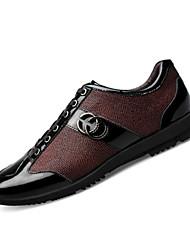 Herren-Flache Schuhe-Lässig-Leder-Flacher Absatz-Komfort-Blau / Burgund