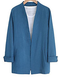 Women's Casual/Daily Simple Fall Jackets,Solid V Neck Long Sleeve Blue / Pink / White Linen Opaque