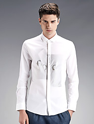 The fall of new men's shirt slim type Korean youth business casual shirt printing long tide