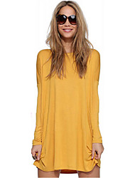 Women's Casual/Daily Sexy Loose Dress,Solid Round Neck Mini Long Sleeve Green / Yellow Cotton Spring