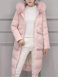 Manteau Rembourré Femme,Long Chic de Rue Décontracté / Quotidien Couleur Pleine-Polyester Duvet d'Oie Blanche Manches LonguesBleu Rose