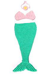 Baby Kid Children Costumes Mermaid Tail Halloween / Carnival / Oktoberfest Red / Green / Blue Vintage Bra / Tail