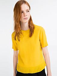 Mulheres Camiseta Casual Sensual Verão,Sólido Amarelo Poliéster Decote Redondo Manga Curta Média
