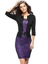 Women's Casual/Daily / Plus Size Vintage Sheath Dress,Solid Round Neck Above Knee ¾ Sleeve Purple Polyester Spring / Summer / Fall