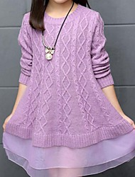 Girl's Casual/Daily Solid Sweater & Cardigan,Cotton Spring / Fall Green / Purple / Red